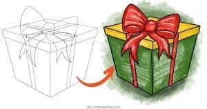 How to draw a present with a nice ribbon bow - step-by-step-drawing tutorial featured image