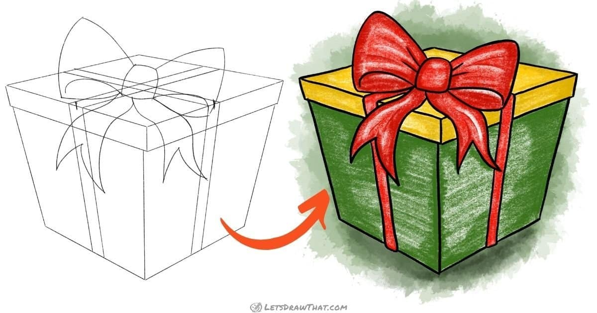 How to draw a present - step-by-step drawing tutorial