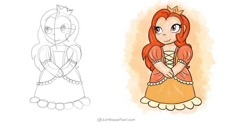 How to draw princess in a  simple cute chibi style - step-by-step-drawing tutorial featured image