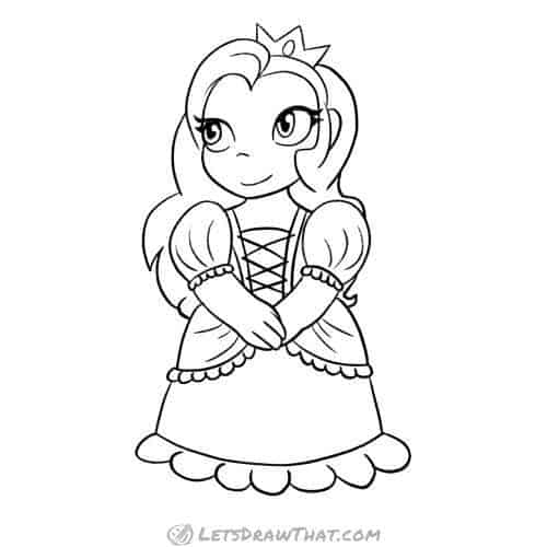 How to draw princess: completed pencil outline