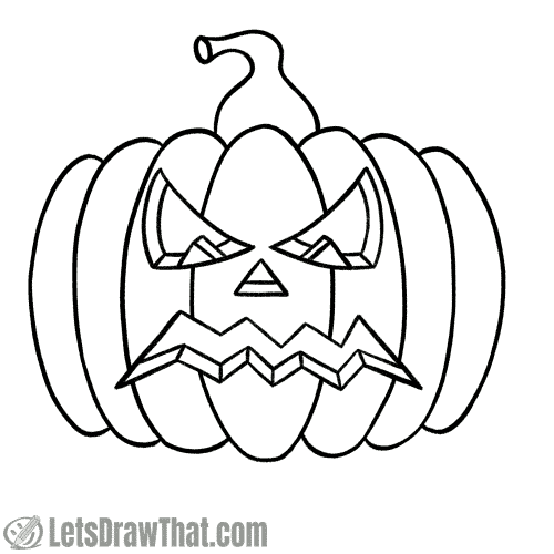 Drawing angry pumpkin face: finished outline drawing