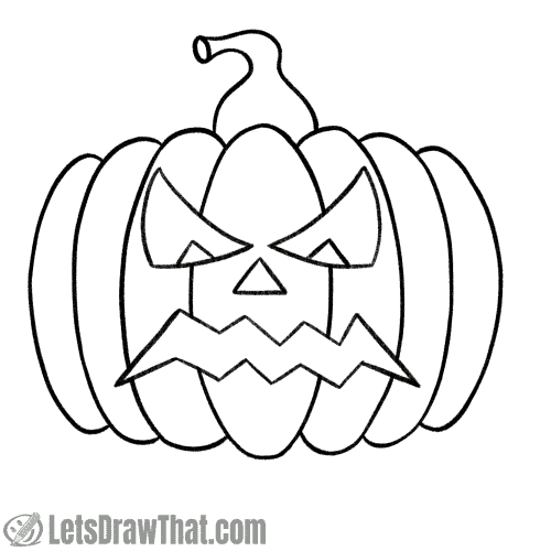 Drawing step: Option: Outline the angry pumpkin face for a simple drawing