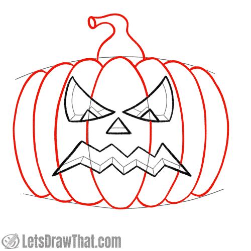 Drawing step:  Draw the pumpkin
