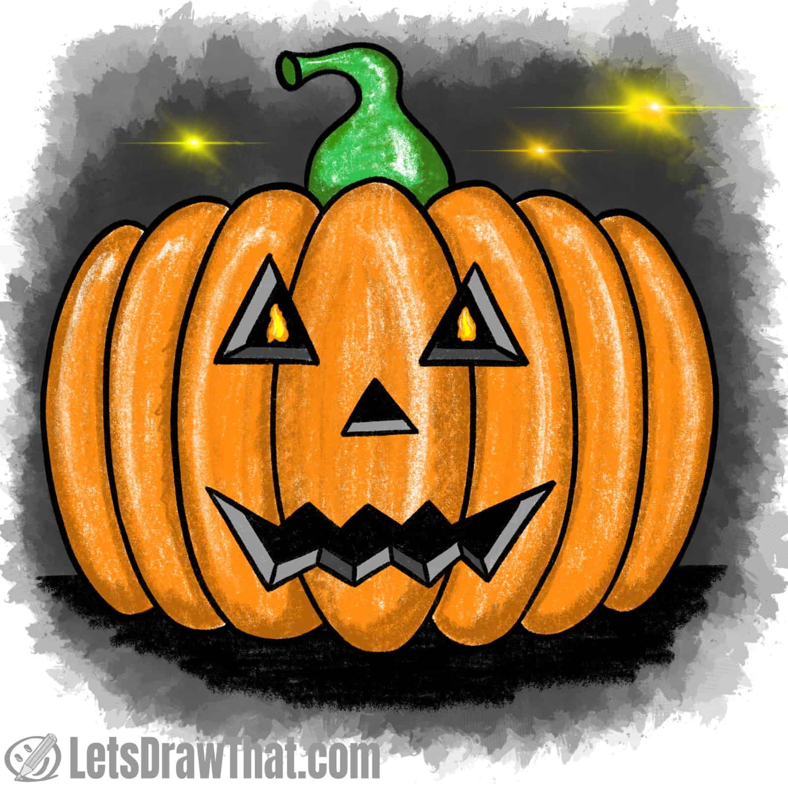 Drawing classic pumpkin face: finished drawing coloured-in