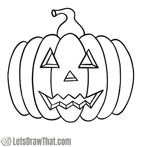 Drawing classic pumpkin face: finished outline drawing