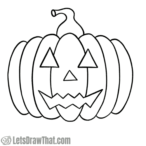 Drawing step: Option: Outline the pumpkin face for a simple drawing