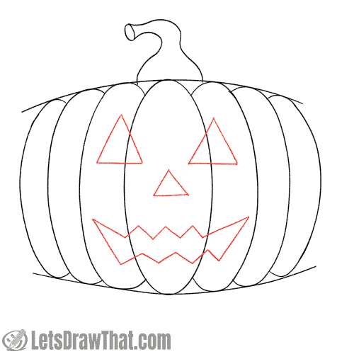 Drawing step: Draw the classic pumpkin face