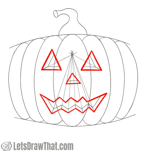 Drawing step: Outline the pumpkin face