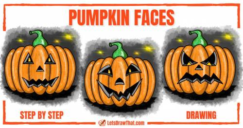 Drawing pumpkin faces for Halloween - step-by-step-drawing tutorial featured image