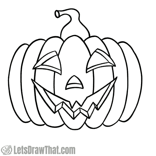 Drawing happy pumpkin face: finished outline drawing