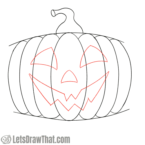 Drawing step: Draw the happy pumpkin face