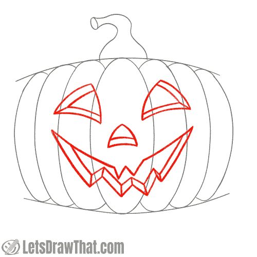 Drawing step: Outline the face Pumpkin face outlined