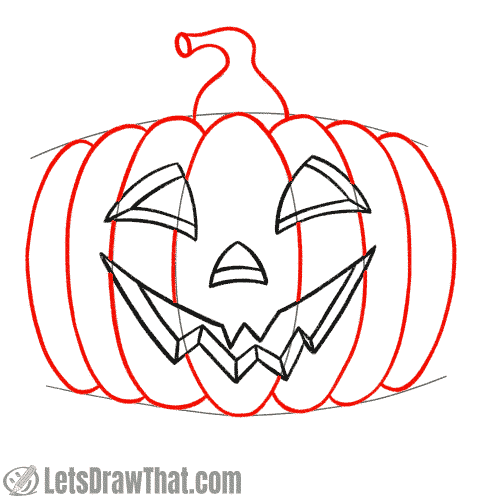Drawing step: Outline the pumpkin