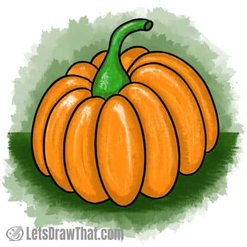 How to draw a pumpkin: finished drawing coloured-in