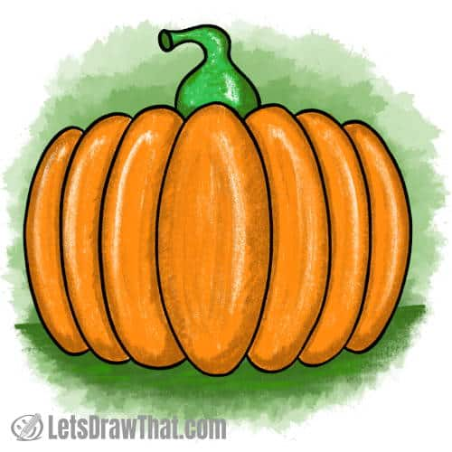 How to draw a simple pumpkin: finished drawing coloured-in
