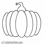 How to draw a simple pumpkin: finished outline drawing