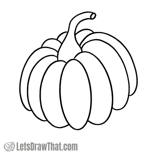 How to draw a pumpkin: finished outline drawing