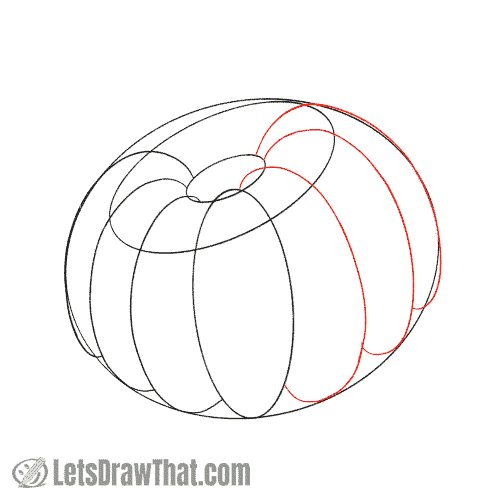 Drawing step:  Sketch the remaining front ribs