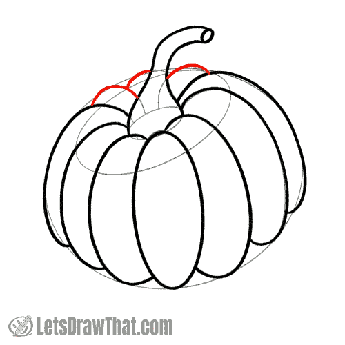 Drawing step:  Complete the Pumpkin outline