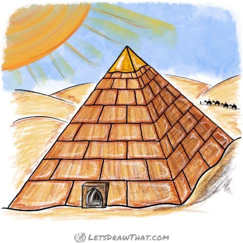 How to draw a pyramid: completed coloured-in drawing