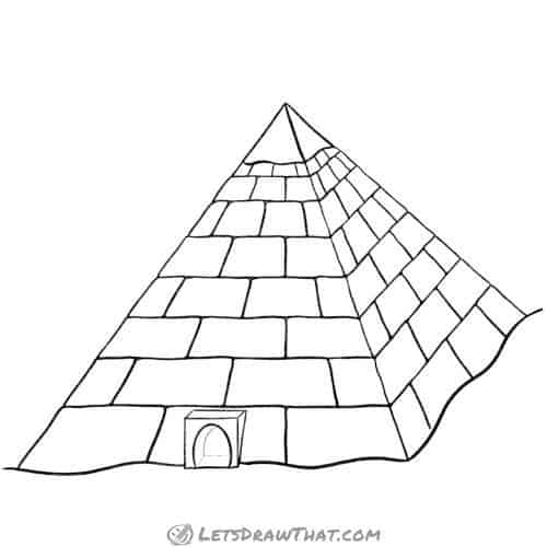 How to draw a pyramid: completed outline drawing