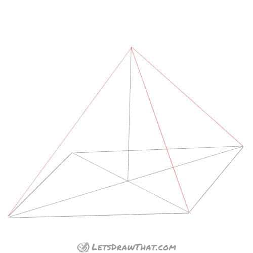 Drawing step: Draw the outer edges of the pyramid