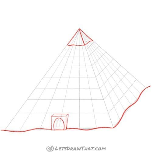 Drawing step: Outline the pyramid gate and the top cap