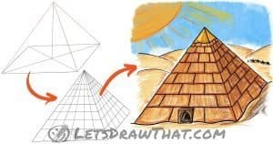 How to draw a pyramid with a stone pattern in 3D view - step-by-step-drawing tutorial featured image