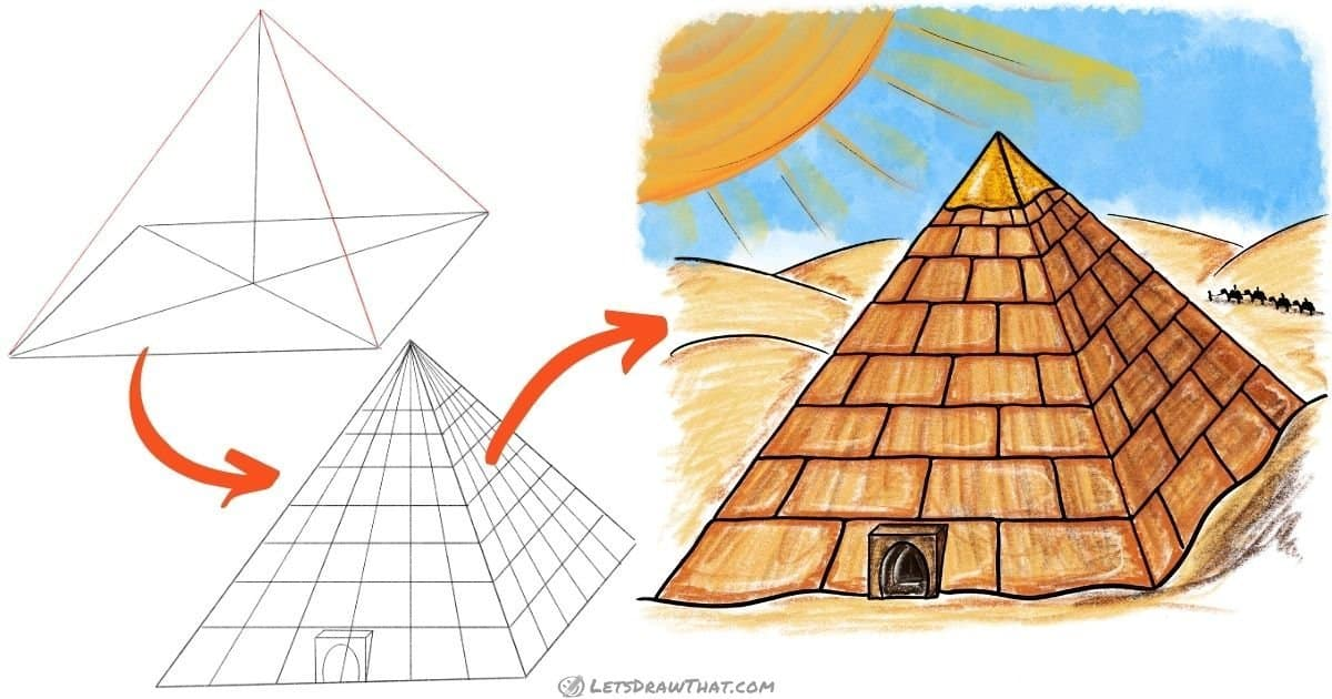 How to draw a pyramid - step-by-step drawing tutorial