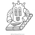 How to draw a robot - completed round robot outline