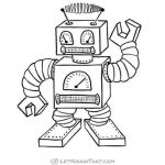 How to draw a robot: finished square robot outline drawing