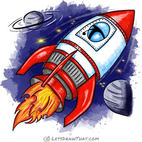 How to draw a rocket: finished drawing coloured in