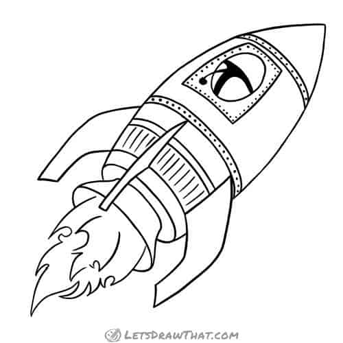 How to draw a rocket: finished outline drawing