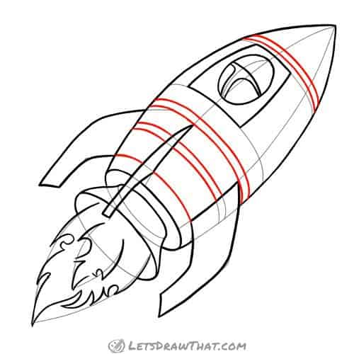 Drawing step: Decorate the rocket with stripes