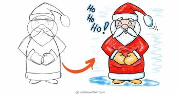 How to draw an easy Santa: step by step drawing - step-by-step-drawing tutorial featured image