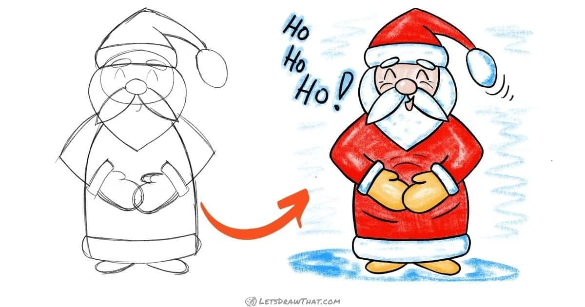 How to draw easy Santa: step-by-step drawing tutorial