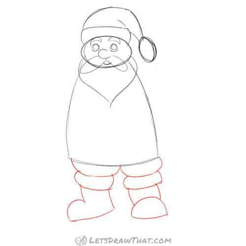 Drawing step: Draw Santa's legs and boots