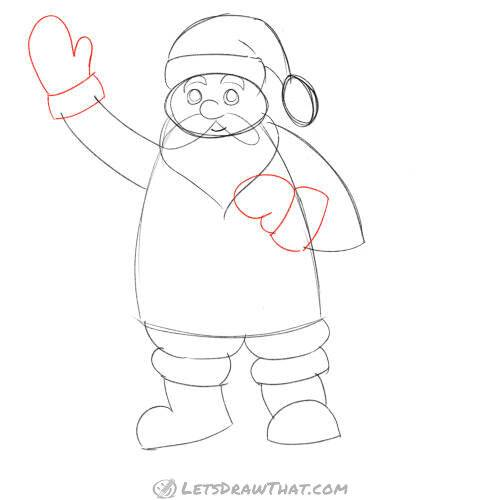 Drawing step: Add the mittens