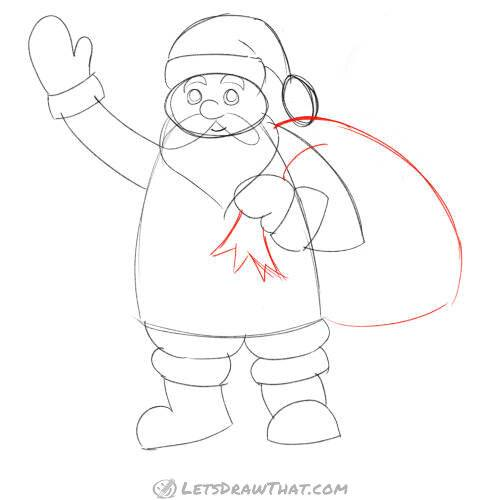 Drawing step: How to draw Santa's present bag
