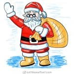 How to draw Santa: finished coloured-in drawing