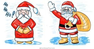 How to draw Santa - 2 different styles from simple shapes - step by step drawing tutorial