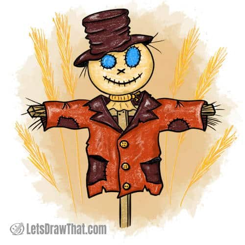 How to draw a scarecrow: finished colour drawing