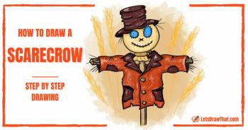 How To Draw A Scarecrow: A Wacky Scarecrow Drawing - step-by-step-drawing tutorial featured image