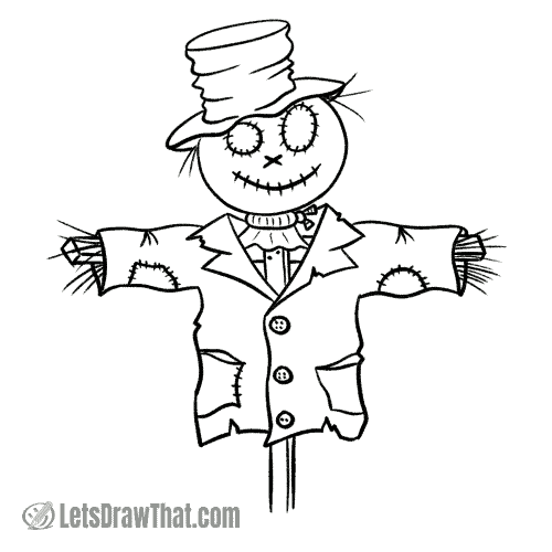How to draw a scarecrow: finished outline drawing