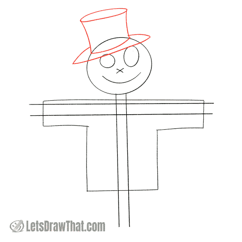 Drawing step: Draw the hat