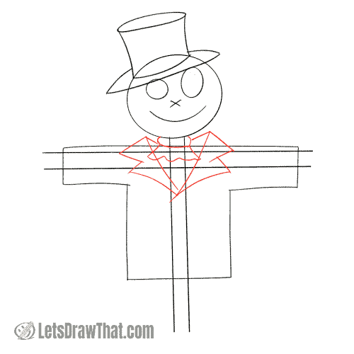 Drawing step: Draw the scarecrow's neck and the coat
