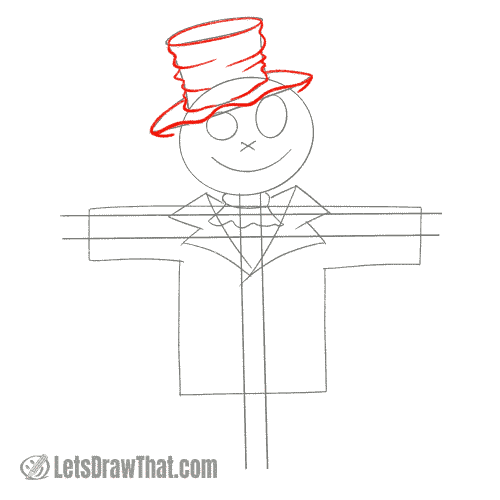Drawing step: Draw a worn out hat