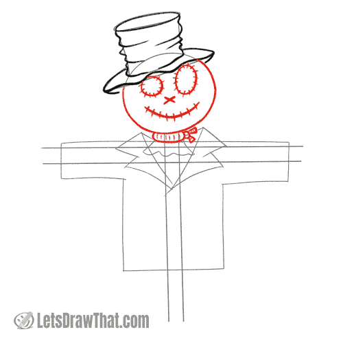 Drawing step: Draw the scarecrow's head and neck