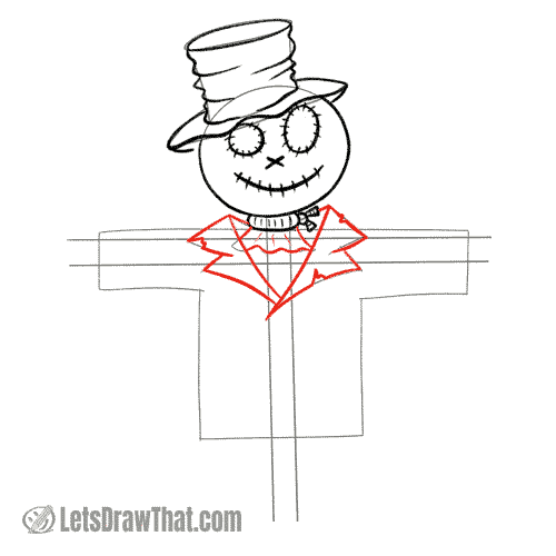 Drawing step: Draw the coat collar and lapels