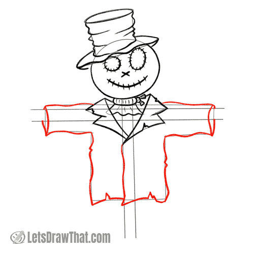 Drawing step: Draw the rest of the scarecrow's coat